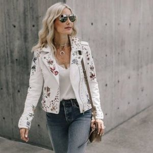 New blank NYC embroidered Moto jacket faux leather